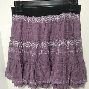 Free People Lined New Purple/Silver Mini Skirt